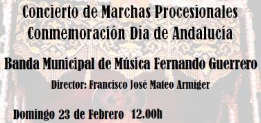 La Banda Municipal de Música Fernando Guerrero ofrecerá un concierto de marchas procesionales en conmemoración del Día de Andalucía